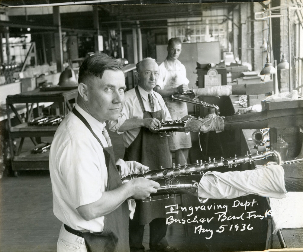 Three Buescher Saxophone Engravers in 1936